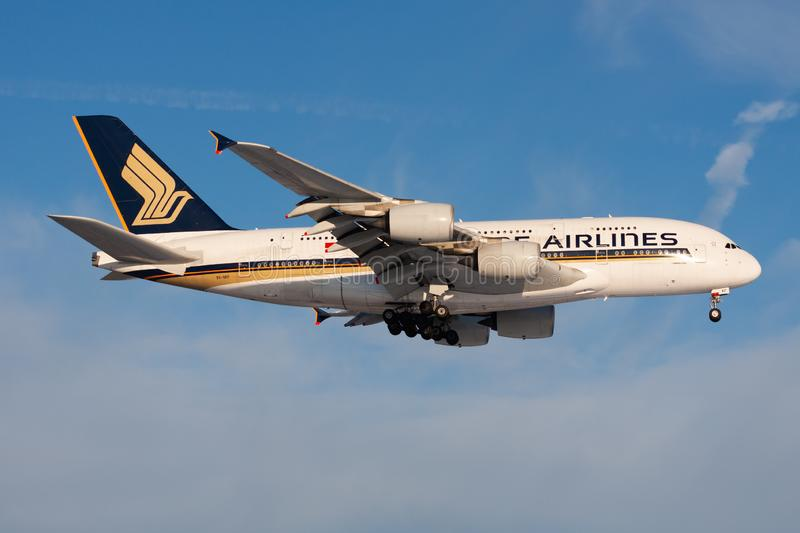 Singapore Airlines Airbus A380 9V-SKF passenger plane landing at Frankfurt Airport royalty free stock images