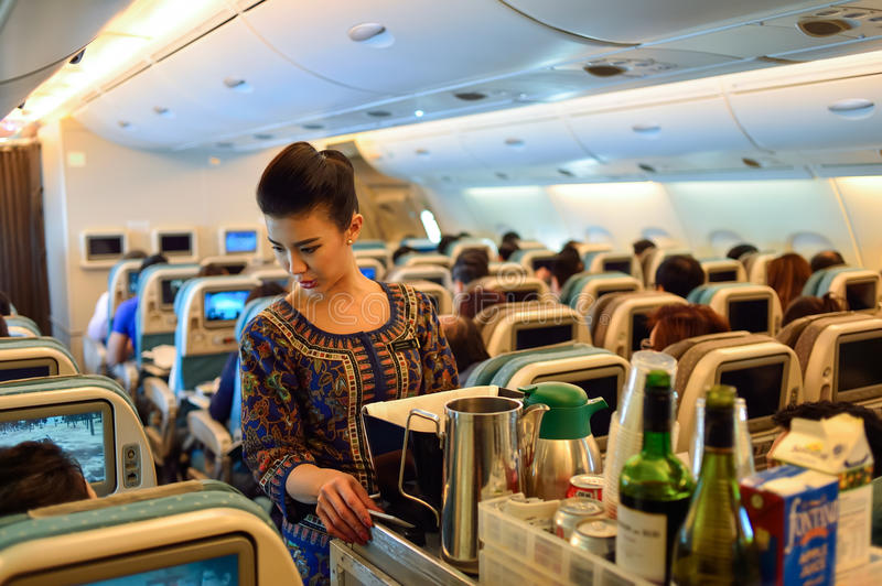 Singapore Airlines-Bemanning stock foto