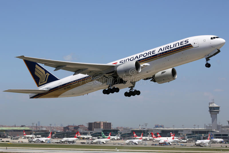 Singapore Airlines Boeing 777-200 fotografía de archivo