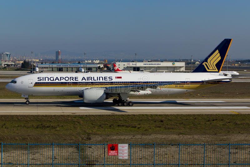 Singapore Airlines Boeing 777 stock foto
