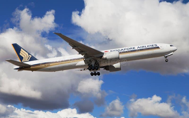 Singapore Airlines Boeing 777 fotografía de archivo libre de regalías