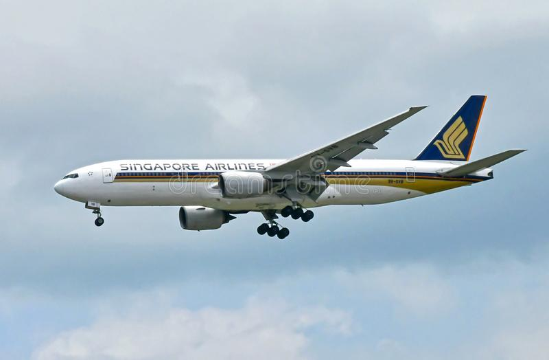 Singapore Airlines passagerare Jet Before Touch Down royaltyfri bild