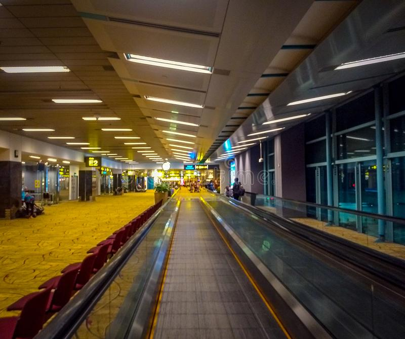 Singapore airport view from inside. Airport inside view. Singapore airport straight view stock photography