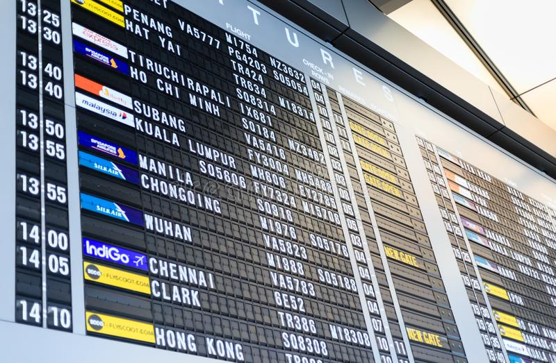 Singapore-28 APR 2018: Departure Board in Changi Airport. Departure Hall in Singapore stock photo