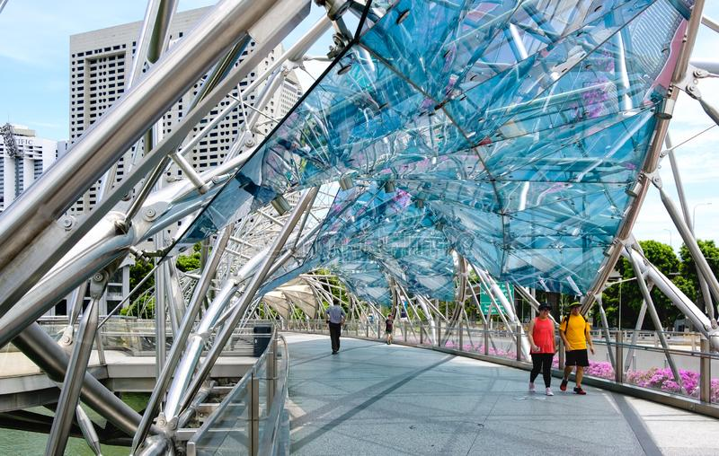 Singapore-13 APR 2019:Helix Bridge tourist attraction place in Marina bay, Singapore royalty free stock photography