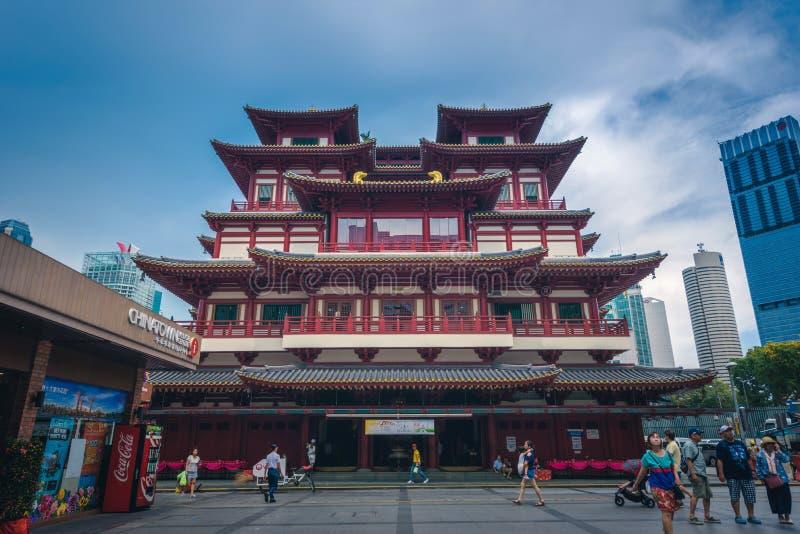 Singapore, 30 Singapore-April, 2018: De Tempel van het de Tandoverblijfsel van Boedha bij dag in de stad van China, Singapore royalty-vrije stock afbeeldingen
