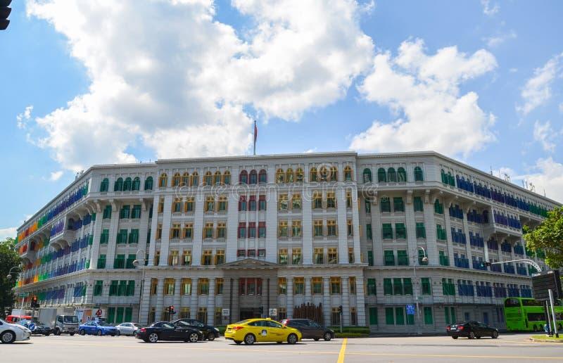 Singapore April 2017: Departementet av information, kommunikationen & konstGLIMMERbyggnaden i Singapore arkivbilder