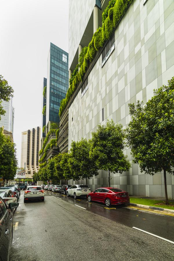 Green nature facade of Parkroyal on Pickering hotel building in Singapore city royalty free stock image