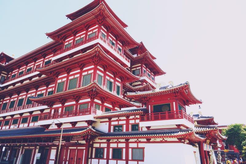 Singapore - April 07, 2019: Het de van het de Tandoverblijfsel van Boedha Tempel en Museum in Chinatown, de tempel op de Tang-dyn stock fotografie