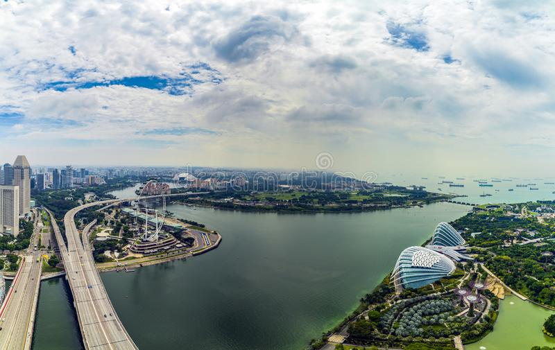 APRIL 23, 2019: Panorama of Greenhouses Flower Dome and Cloud Forest at Gardens by the Bay in Singapore royalty free stock image