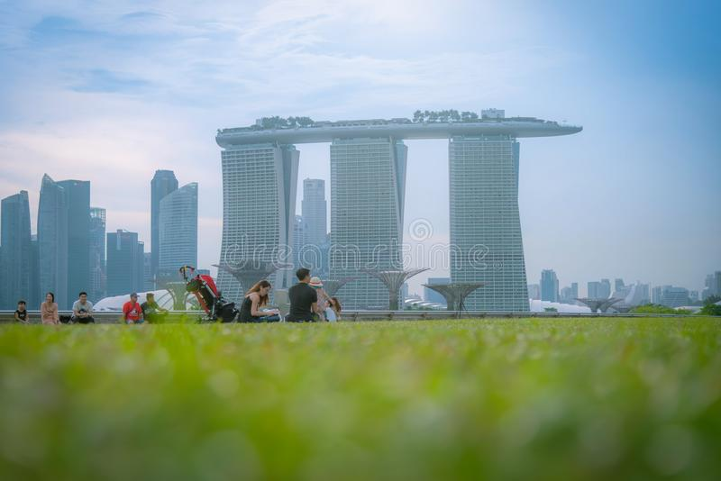 SINGAPORE - APRIL 30, 2018: Singaporean having fun and rest at t royalty free stock photography