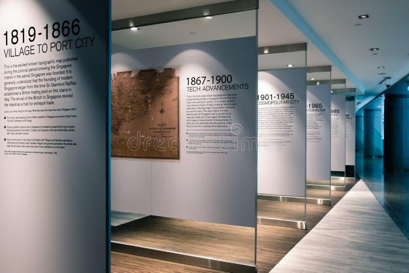 Singapore-05 APRIL 2019: Skärm för myndighet Singapore för stads- sanering den singapore historieöversikten arkivfoton