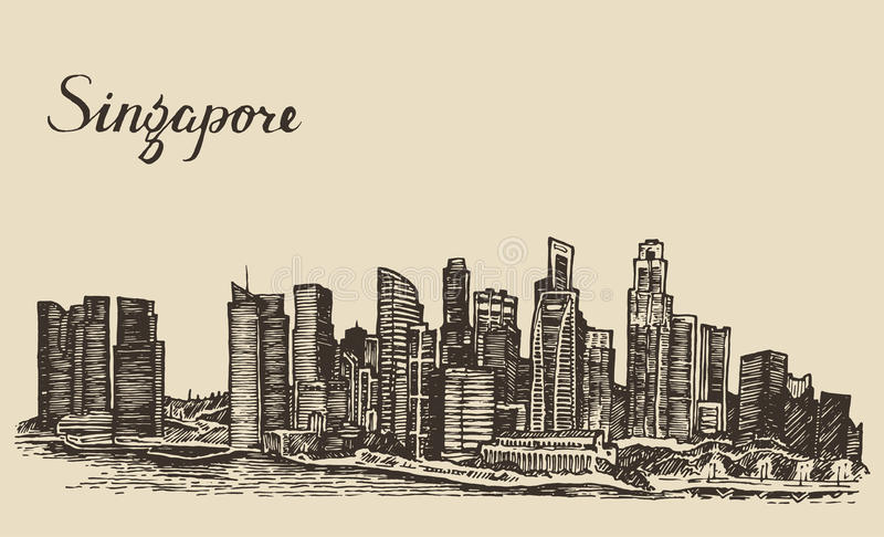 Singapore architecture hand drawn sketch royalty free illustration