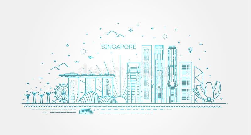 Singapore arkitekturlinje horisontillustration Linj?r vektorcityscape med ber?mda gr?nsm?rken stock illustrationer