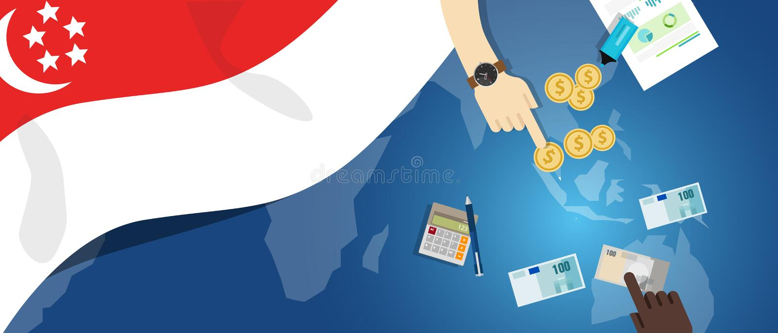 Singapore Asia economy fiscal money trade concept illustration of financial banking budget with flag map and currency. Vector stock illustration