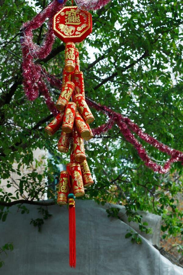 SINGAPORE, ASIA - 3 FEBBRAIO: Decorati cinese festivo del nuovo anno fotografia stock libera da diritti