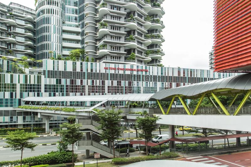 Singapore-13 AUG 2017: Ng Teng Fong General Hospital in Singapore building facade and linkage royalty free stock images