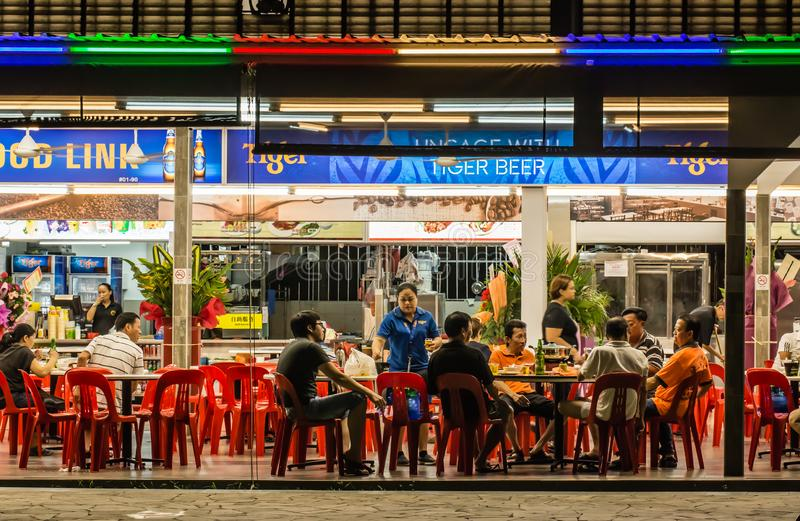 Singapore-AUG 6 2017: Singapore local type traditional food count in night view stock photos