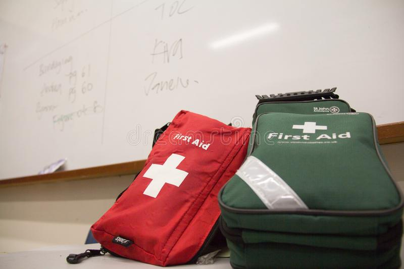 Singapore - AUGUST 19, 2016:  first aid kit st john royalty free stock image