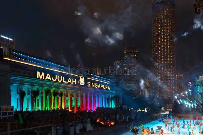 Singapore - 9 augusti 2019, Singapores 54:e nationaldag royaltyfria bilder