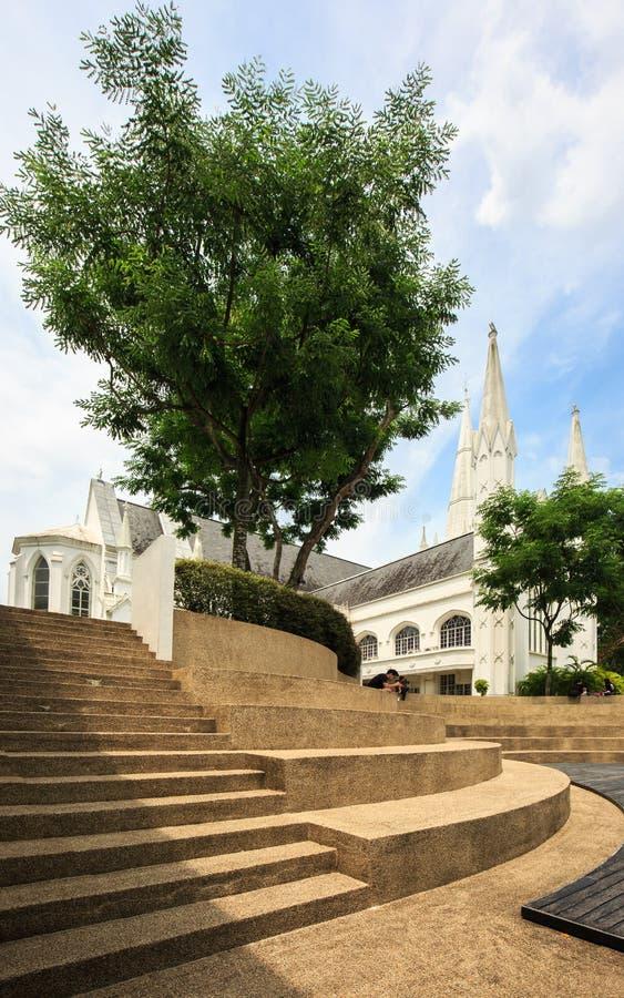 Singapore-01 augustus 2019: Dagscène van St Andrew Kathedraal in Singapore royalty-vrije stock foto's