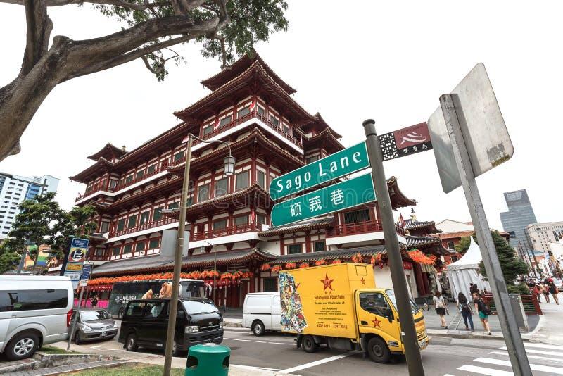 SINGAPORE - AUGUSTUS 8, het Overblijfseltempel van Boedha Toothe van 2014 in Chinatown, bedrijfsdistrict, een belangrijke toerist stock foto's