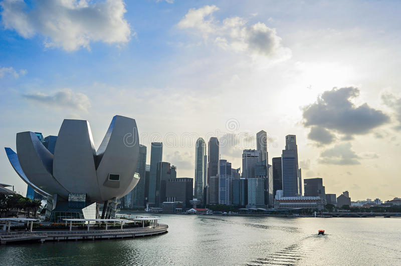 Singapore bay skyline. Skyline of Singapore bay with famous Downton Core at sunset stock images