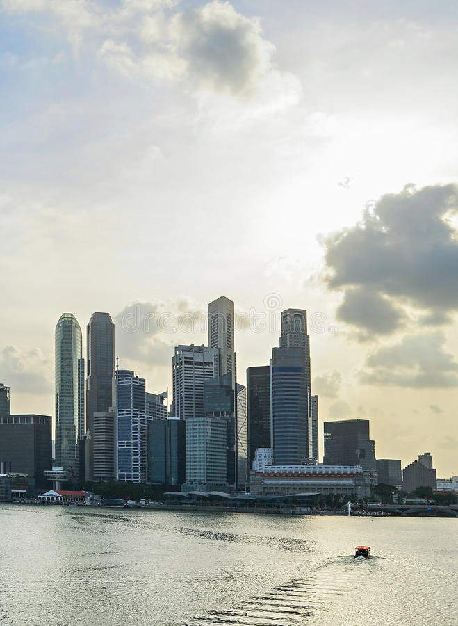 Singapore with beautiful sky. Skyline of Singapore bay with famous Downton Core at sunset stock images