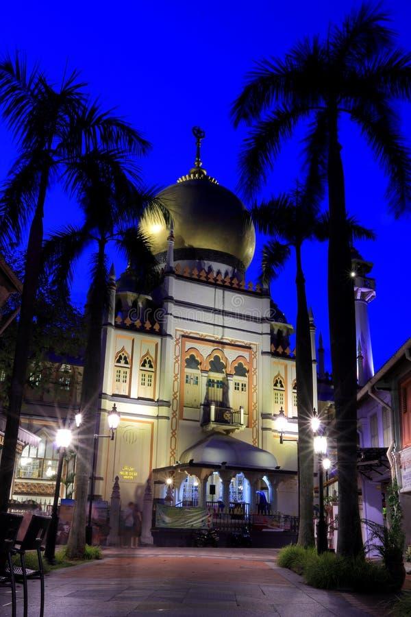 Singapore:Blue hour shot of Masjid Sultan Singapura Mosque stock image