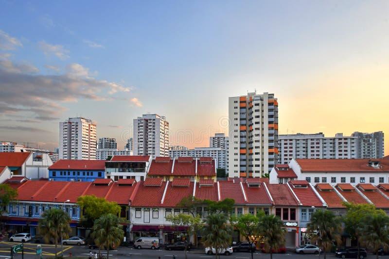 Singapore bostads- gods på solnedgången 2019 arkivbilder