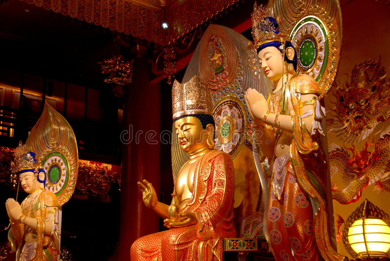 Singapore: Buddas at Buddha Tooth Relic Temple stock images