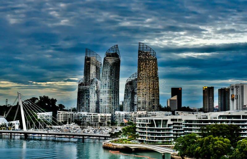 вид набережной сингапура Singapore Buildings skyline HDR royalty free stock images