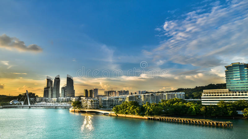 Singapore waterfront. Modern buildings on the coast of Singapore at sunset royalty free stock photography
