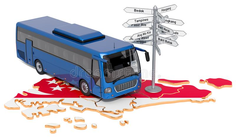 Singapore Bus Tours concept. 3D rendering. Isolated on white background royalty free illustration