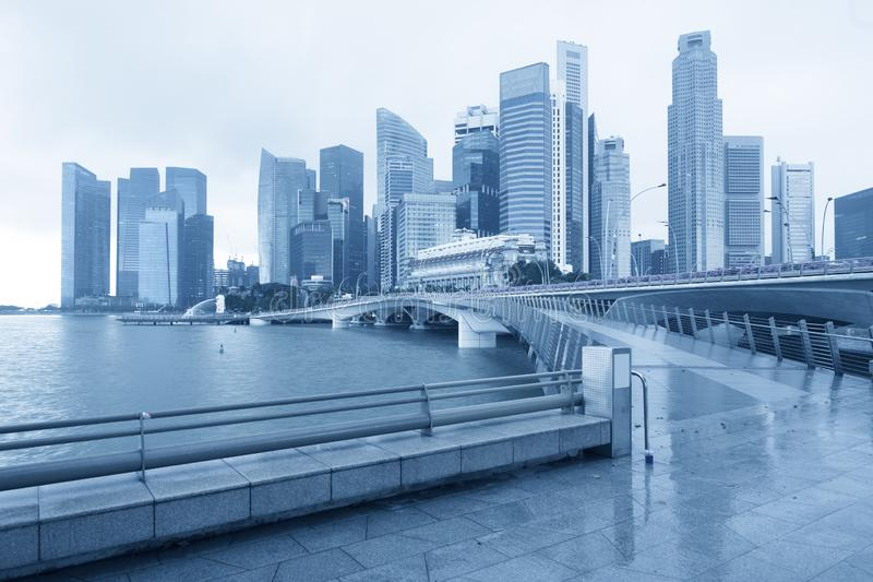 Singapore business district city skyline i. N blue tone clear view stock images