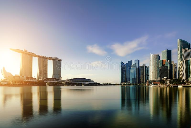 Singapore business district skyline in night at Marina Bay, Singapore. Asia stock image
