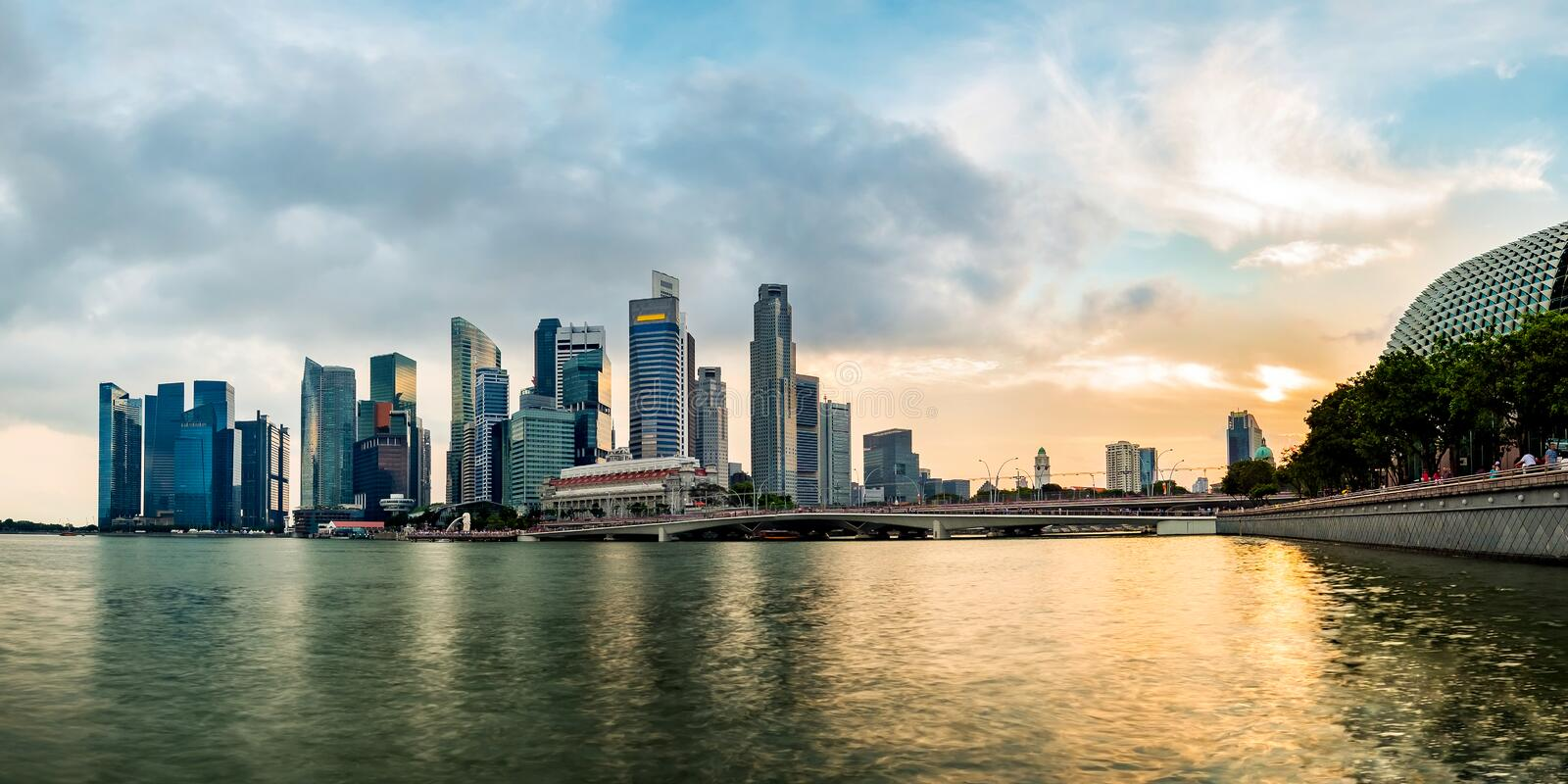 Singapore business district skyline during sunset. Group of skyscrapers at Marina Bay, Singapore stock photos