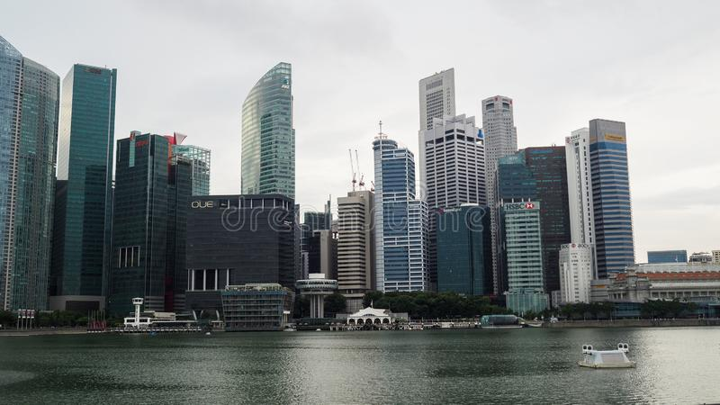 Singapore business and financial centre at evening royalty free stock photo