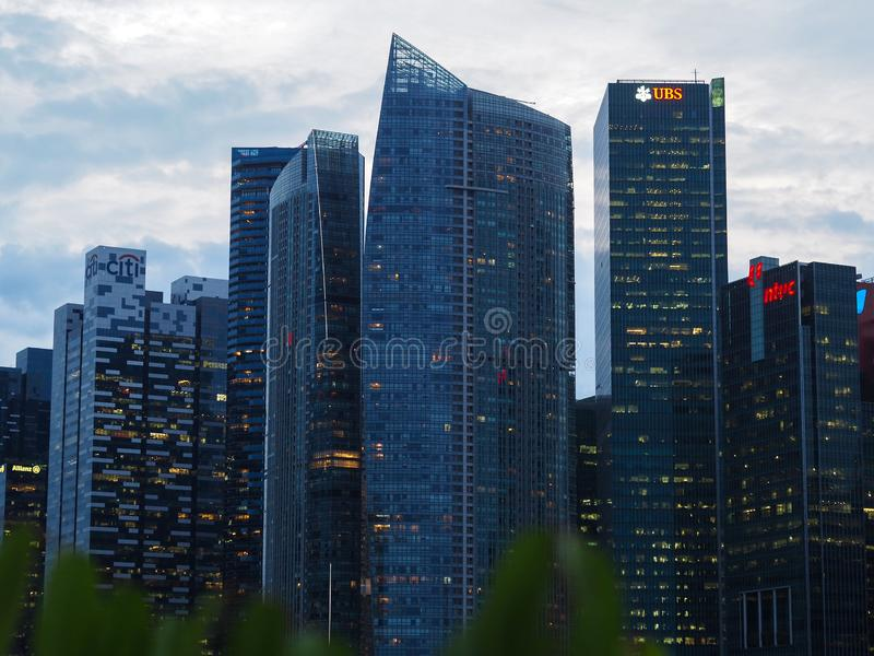 Singapore business and financial centre at evening stock photo