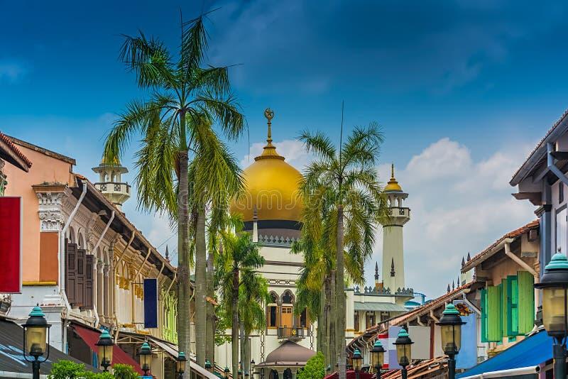 Singapore Bussorah gata med den Masjid moskésultan arkivfoto