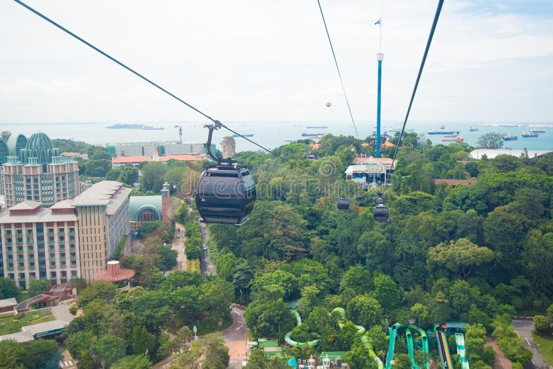 Singapore cable car to Sentosa. Landmark and favorite place of tourist royalty free stock photos