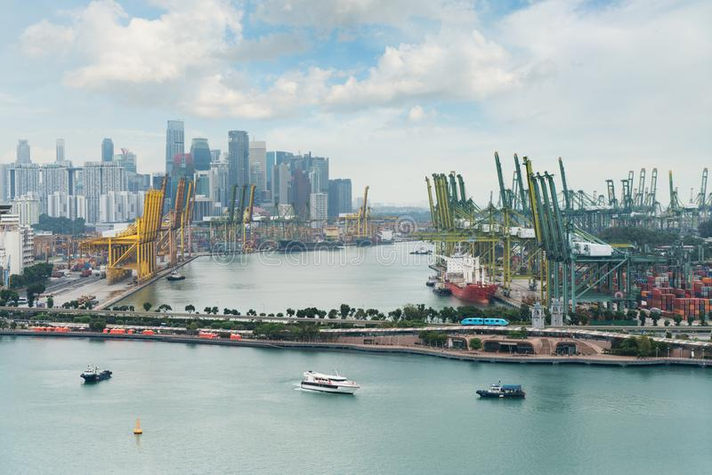Singapore cargo terminal,one of the busiest Import, Export, Logistics ports in the world, Singapore. stock photo