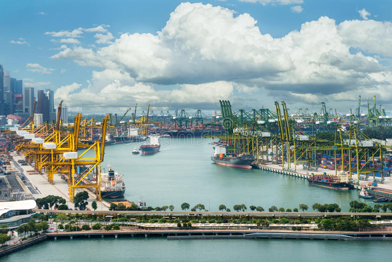 Singapore cargo terminal,one of the busiest port. Singapore cargo terminal,one of the busiest Import, Export, Logistics ports in the world, Singapore stock images