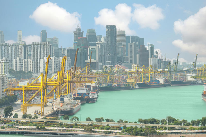 Singapore cargo terminal,one of the busiest ports in the world,. Singapore stock photography