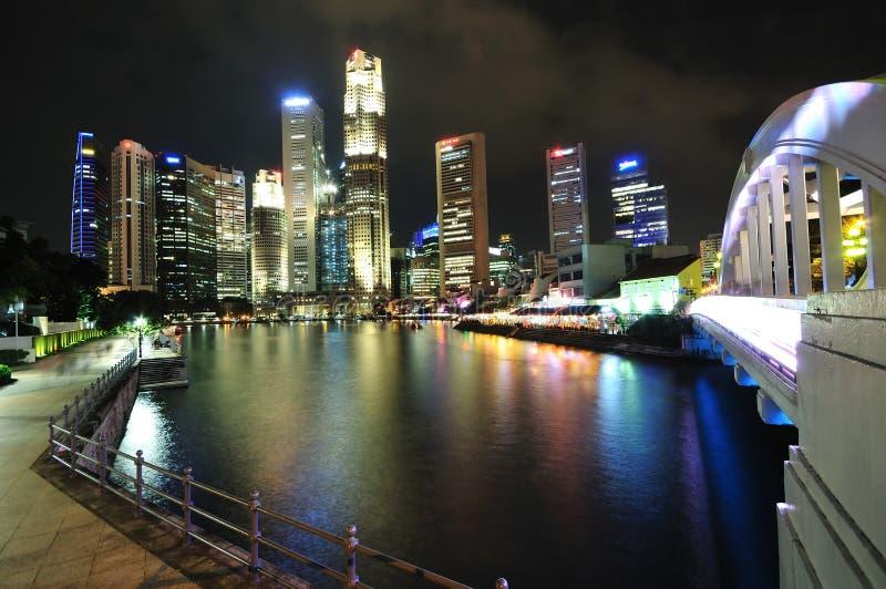 Singapore CBD bij Nacht stock fotografie