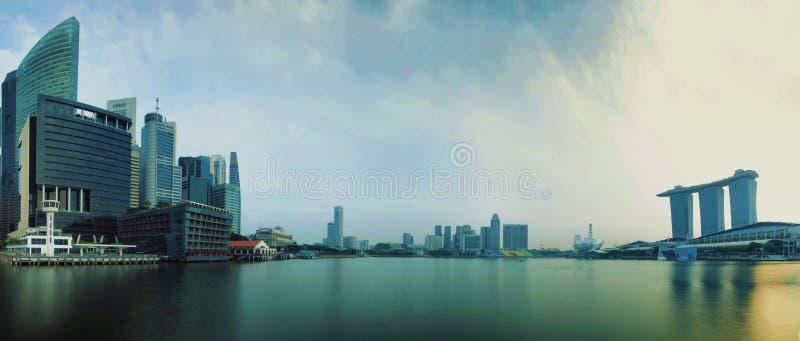 Singapore CBD i panorama arkivbilder