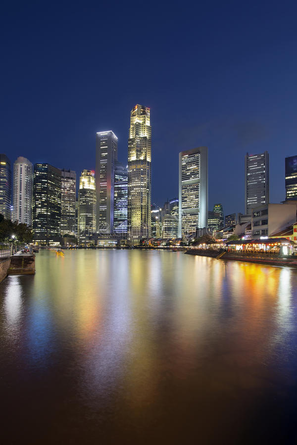 Download Singapore Skyline By Boat Quay Vertical Stock Image - Image: 30206841