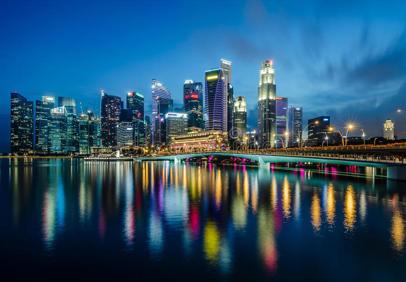 Singapore Central Business District. Marina Bay, Singapore - October 29, 2016: Beautiful twilight View of Marina Bay with Singapore Central Business District at royalty free stock images