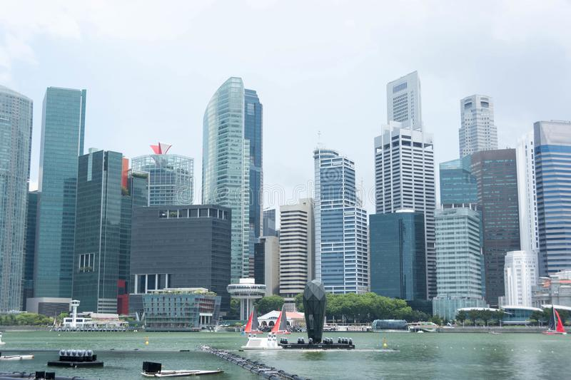 Singapore central business district. Skyline and building architectures royalty free stock images