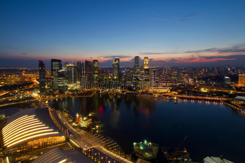 Singapore Central Business District Skyline. By River at Blue Hour stock photography